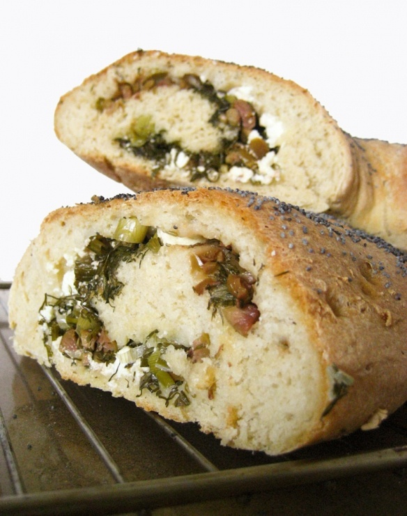 stuffed bread with feta cheese, onion, dill and olives (I would take out the olives and add asparagus)