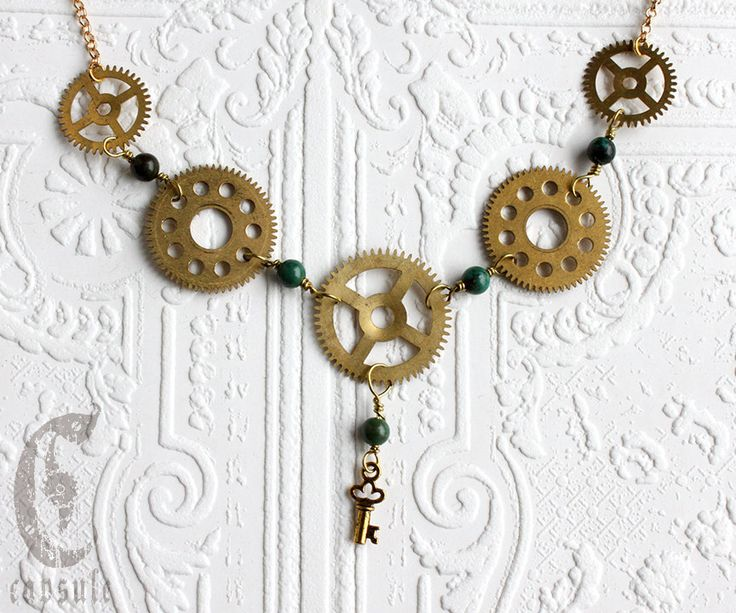 Steampunk Statement Necklace - Gear Necklace - with Vintage Brass Gold Clock Cogs, Gears, Key and African Turquoise by CapsuleCreations on Etsy