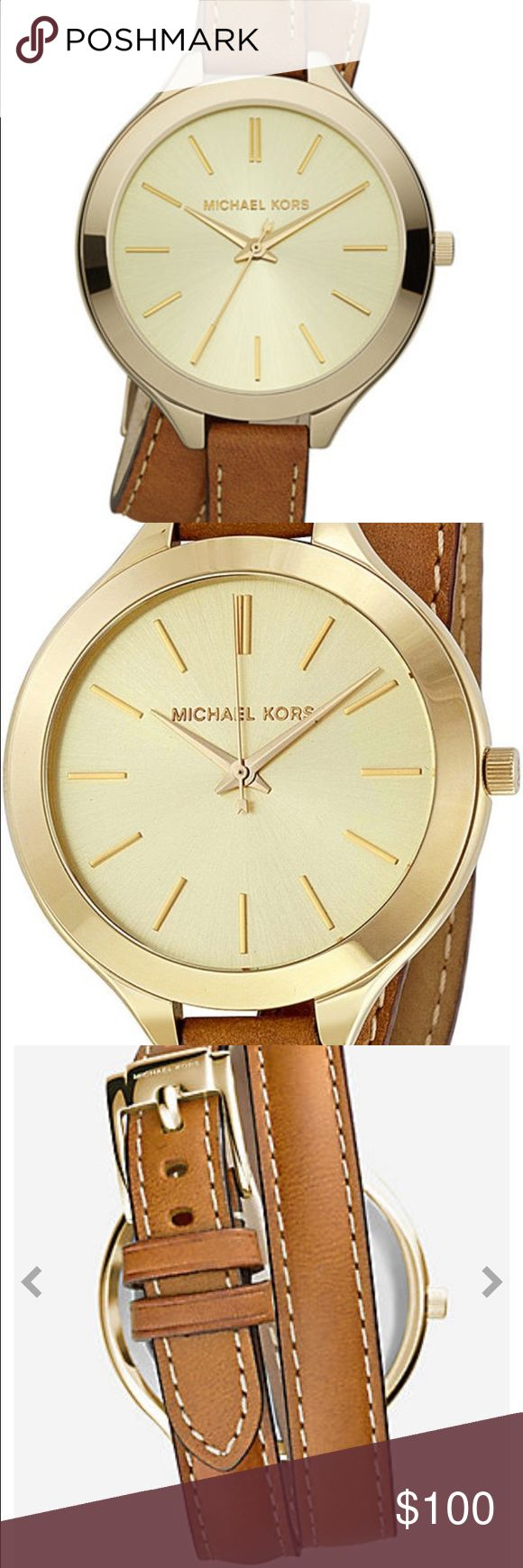 NWOT Michael Kors Women's Watch Brand new Michael Kors watch with slim double leather strap that wraps beautifully around the wrist. The original plastic is still on the face and comes with Michael Kors box. Battery does need to be replaced. Great for everyday use! Michael Kors Accessories Watches
