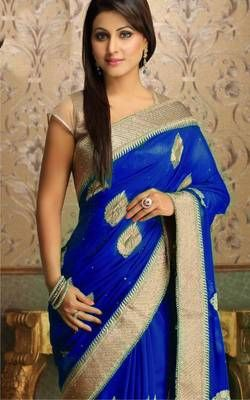 Tv Serial. Ye Rista Kya Kehlata hai.. Actress Akshara.. Akshara Blue Pure Chiffone Saree with unstitched Blouse piece Embroidery work Border with Jari work Butta, Golden Shining Blouse pic. Ready In stock. ship same day.