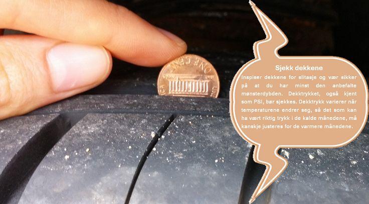 Hold øye med dekktrykket  I løpet av de kalde vintermånedene vil dekktrykket falle, som i mange tilfeller vil gjøre at TPMS-sensorene i de fleste kjøretøy registrerer utrygge kjøreforhold. Det er en god ide å sikre at dekkene på ditt kjøretøy er tilpasset de kaldere temperaturene. #dekkene