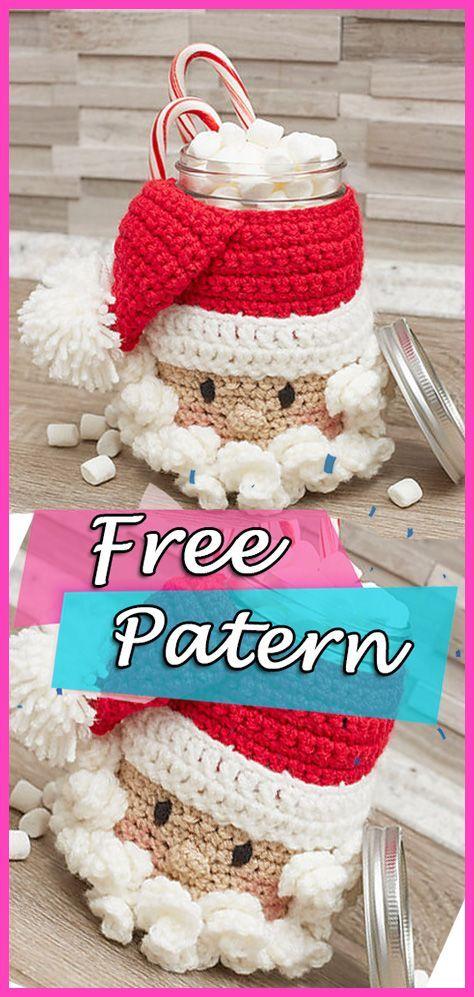 Santa Candy Jar häkeln kostenlose Muster Weihnachten Handwerk DIY ...