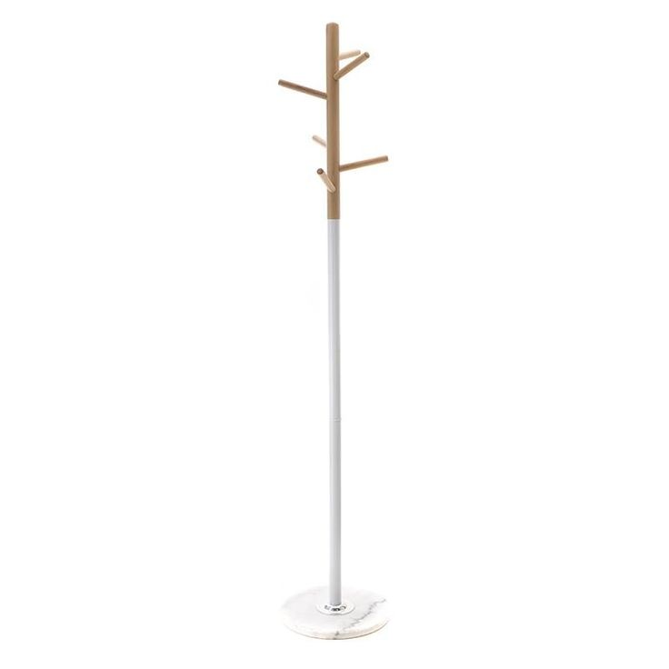 METAL/WOODEN COAT HANGER IN WHITE COLOR 35X35X177 - Coat Hangers - FURNITURE