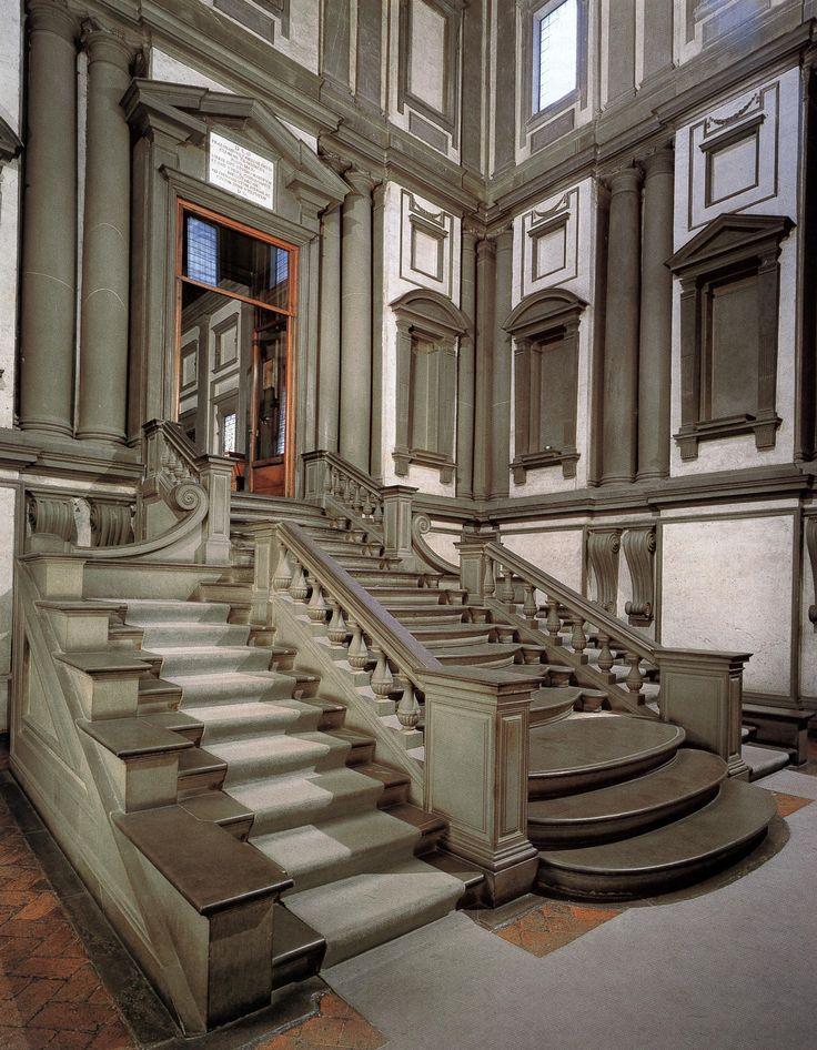 IT, Florence, Monastery of San Lorenzo, Vestibule of the Laurentian Library. Architect Michelangelo, 1559.