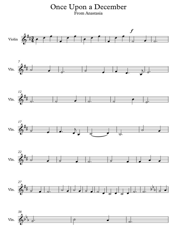 how to play once upon a december on violin