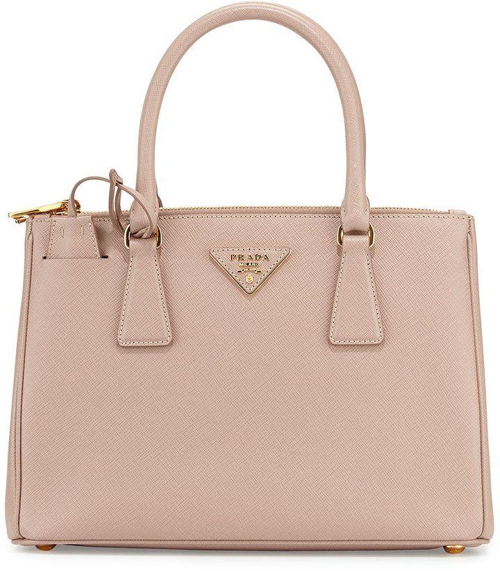 Prada Saffiano Lux Small Double-Zip Tote Bag