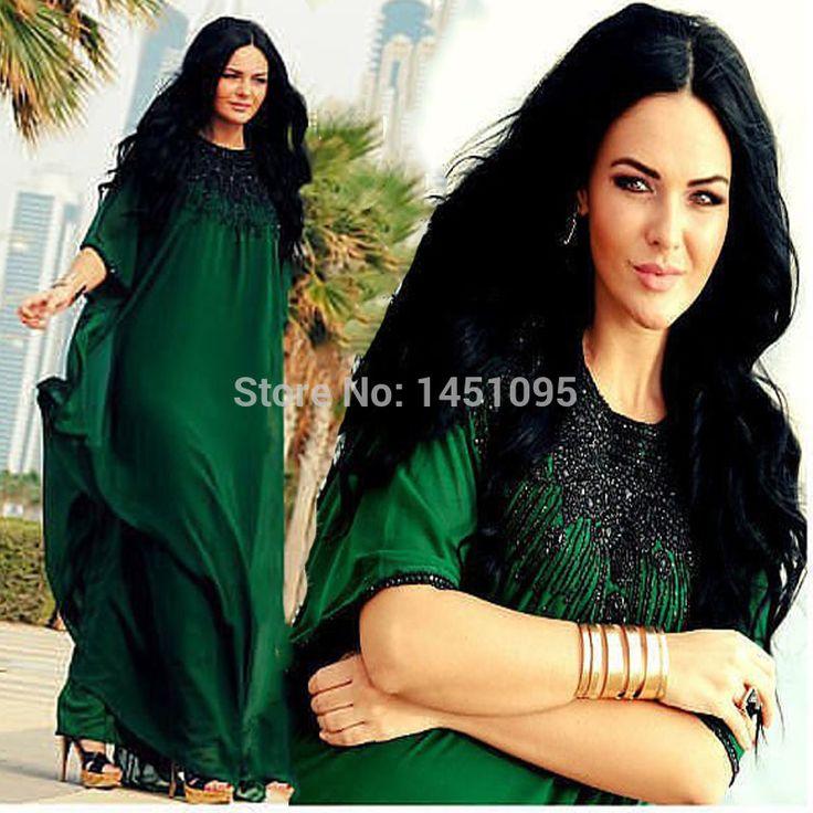 2014 elegante o- hals perlen grün chiffon kaftan abaya saudi arabische frauen kleiden lange muslimische röcke abendkleid abschlussball party kleider(China (Mainland))
