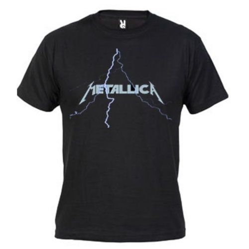 Camiseta Metallica Rayo (Diseño mxgames.es) (Talla: Talla L Unisex Ancho/Largo [56cm/74cm] Aprox], Color: Negro) #camiseta #realidadaumentada #ideas #regalo
