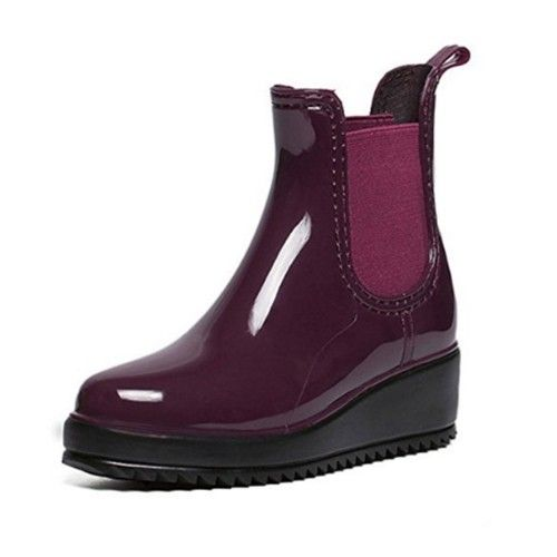Wine Red Women Rain Boots Wedges