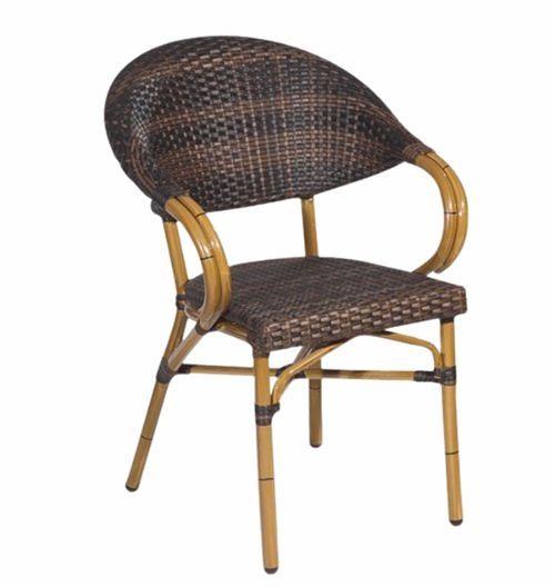 silln de exterior para terrazas de cafeteras y asiento y respaldo en ratn sinttico