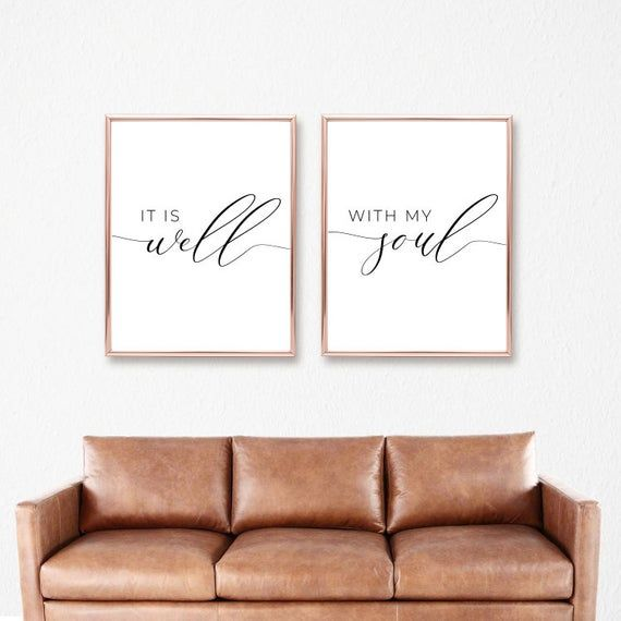 It Is Well With My Soul Printable Sign Set, Bedroom Quote Decor, Living Room, Religious Wall Art Pri