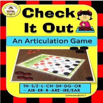 Add checkers as a fun articulation game for your older students. There are 2 game boards for each phoneme so that therapy is always fresh.  Each board includes 32 unique stimulus words that address articulation while also expanding vocabulary. Sounds addressed in this upper pack include: th, s/z, l, ch, sh, dg, r, or, ire, er, are, and ire/ear.Homework page is included.Play with included game pieces OR look at your local dollar store for a one dollar checker game.