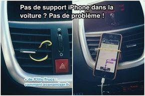Heureusement, j'ai trouvé une solution pour tenir mon iPhone en voiture. L'astuce est d'utiliser un simple élastique en caoutchouc.  Découvrez l'astuce ici : http://www.comment-economiser.fr/support-iphone-voiture-pas-cher.html?utm_content=buffer390df&utm_medium=social&utm_source=pinterest.com&utm_campaign=buffer