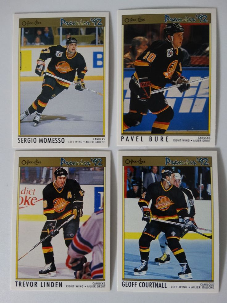 1991-92 O-Pee-Chee Premier Vancouver Canucks Team Set of 4 Hockey Cards No #158 #VancouverCanucks