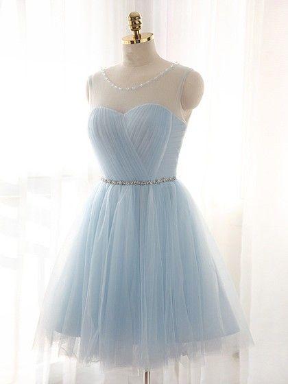 Pretty A-line Scoop Neck Tulle Short/Mini Beading Light Sky Blue Prom Dresses #PED020102518