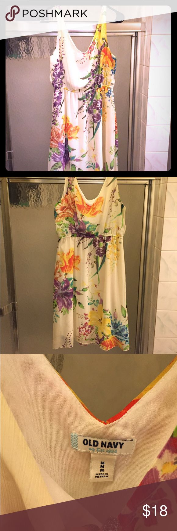 Cream and Floral Old Navy Dress Really beautiful floral pattern dress by Old Navy. Amazing with knee high boots and a denim jacket. In great used condition. V neck and back. Old Navy Dresses Midi