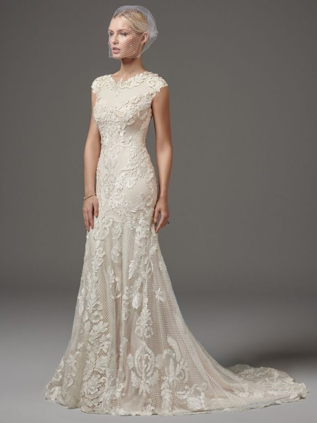 Cute modest wedding dress in sheath shape for lds wedding lace wedding dress with cap sleeves