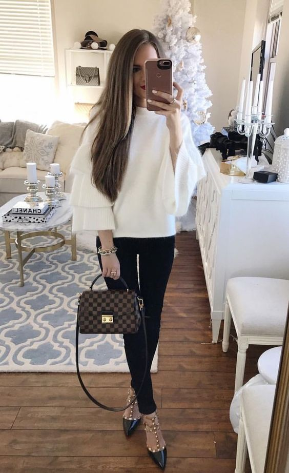 southern curls and pearls. ruffle sleeve sweater