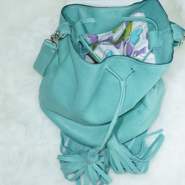 the aqua bucketbag ... tassels color pop purse