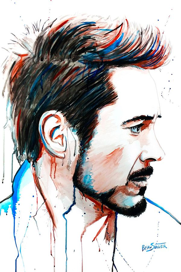 Robert Downey Jr. Watercolor Painting society6.com/… – Lena St