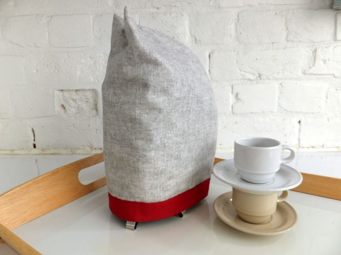 Coffee Plunger Cover Cosy Grey Linen Cat, Insulated, minimalist style design.