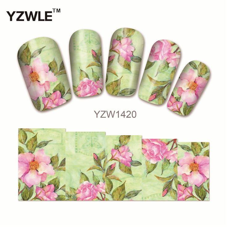YZWLE 1 Feuille Fleur Conceptions DIY Stickers Ongles Art Impression de Transfert de L'eau Autocollants Pour Salon de Manucure