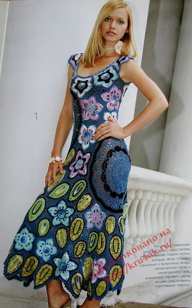 Beautiful appliqué dress with diagrams, click to enlarge diagram. Use web translator to translate instructions.