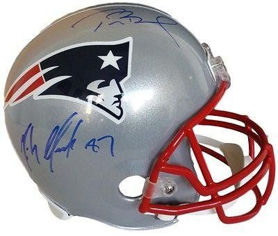 Tom Brady Rob Gronkowski Patriots Signed FS Replica Helmet Steiner TriStar - Autographed NFL Helmets -- Click image for more details.
