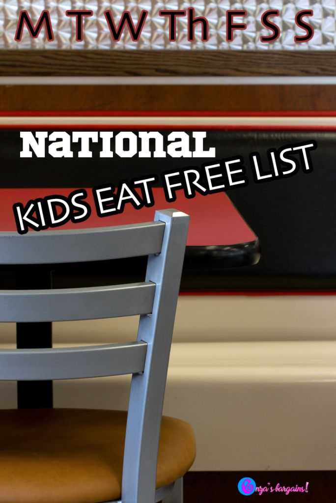 National Kids Eat Free Deals Bargains And Frugal Living Free Deals Free Frugal Living