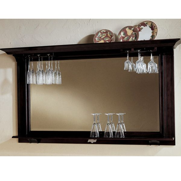 Plain Classy Bar Mirror W Wine Glass Rack Basement Bar
