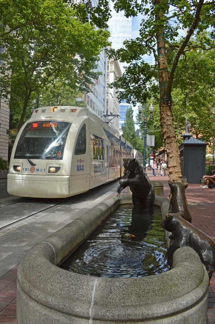 Light rail line in downtown Portland Oregon.