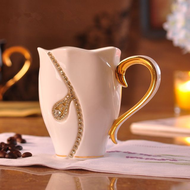Moda creativa di cristallo 3d tridimensionale tazza di caffè di ceramica amanti della moda tazza tazza di tè tazza di amore matrimonio e regalo di compleanno