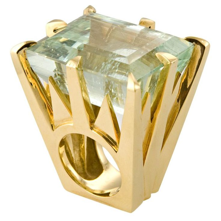 Tony Duquette  Green Aquamarine Ring
