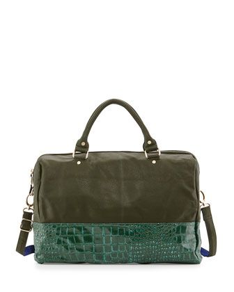 Essex Faux-Leather Snake-Print Weekender Bag, Hunter by Deux Lux at Neiman Marcus.