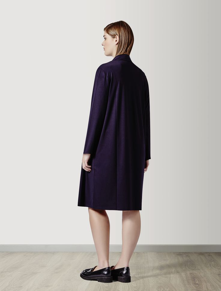 Marina Rinaldi OFITE dark navy: Double-effect stretch jersey dress.
