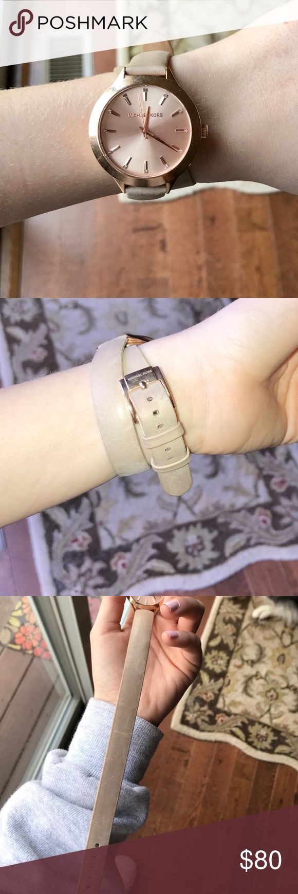 Michael Kors double strap watch Taupe double strap watch! In good condition, Slight scratches on the leather but non on the metal! Straps are genuine leather with rose gold metal. Price is negotiable!! Michael Kors Accessories Watches