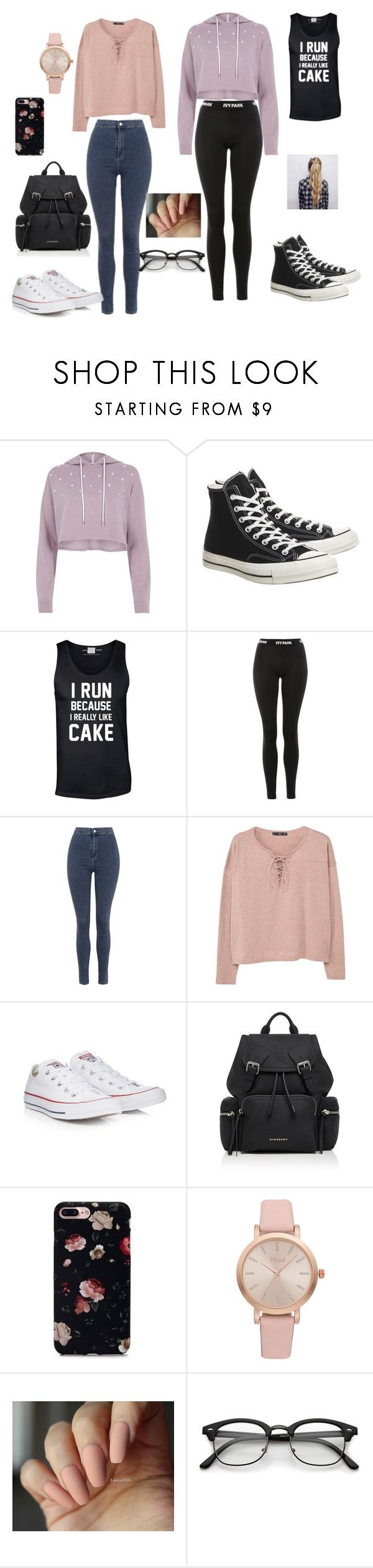 """""""TWO OUTFIT"""" by reka15 on Polyvore featuring River Island, Converse, Ivy Park, Topshop, MANGO, Burberry and Vivani"""