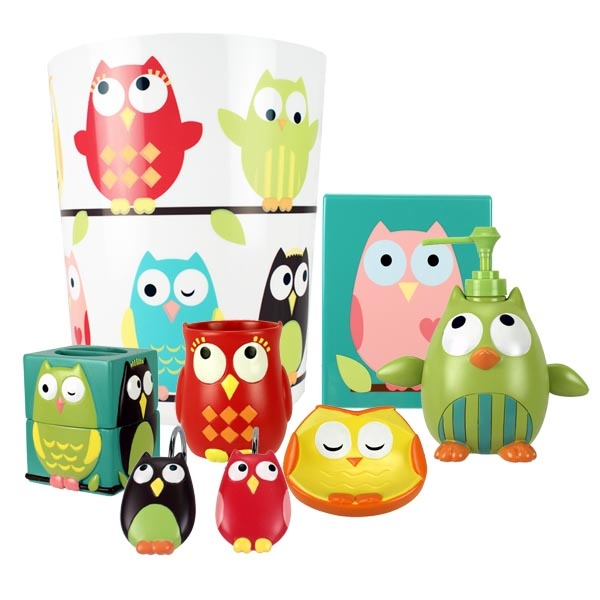 Owl Bath Accessories Shower Curtain  Check Garbage Can  Check Toothbrush  Holder  Check