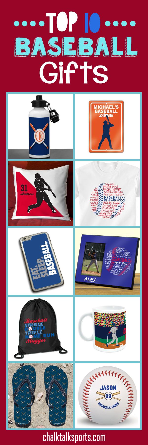 Top 10 baseball gift ideas: Perfect gift ideas for holidays, special occasions, and end of season gifts! These products are made-to-order and can be personalized with your team and baseball player's info! From custom flip flops to personalized beach towels, there are so many products to choose from at ChalkTalkSPORTS.com!