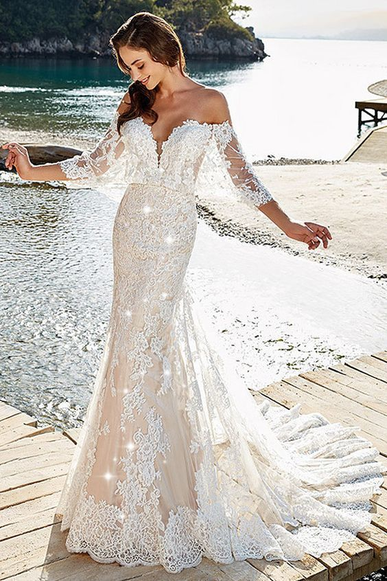 Glamorous Tulle Off-the-shoulder Neckline Mermaid Wedding Dress With Beading & Lace Appliques