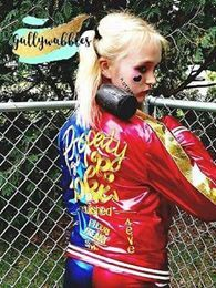 $55 Harley Quinn Suicide Squad 4 piece embroidered Property of Joker jacket, 2 toned shorts, Daddy's Lil Monster t-shirt, and glove children's, kids, adult sizes