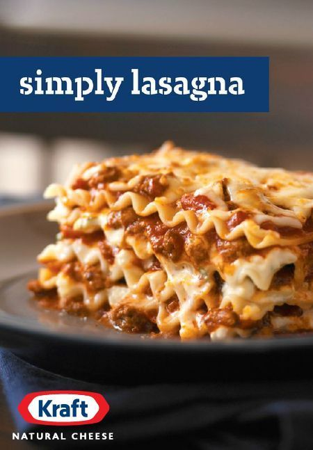 Simply Lasagna – Quite simply, this is the only lasagna recipe you'll ever need. It takes just 20 minutes to prep this cheesy crowd-pleaser for the oven—with KRAFT Natural Shredded Mozzarella Cheese, grated Parmesan, and ricotta. This classic Italian dish serves 12, so it's perfect for your next get-together with friends and family.