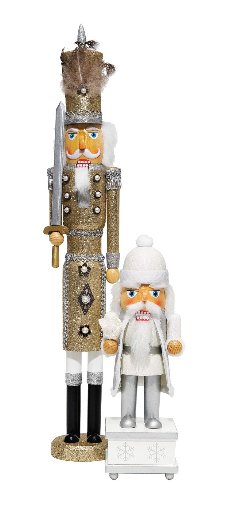 Sparkling nutcrackers. Large nutcracker with pearl studs, $55.99 and small nutcracker, $43.99. Puppet Heaven | 703.414.7885