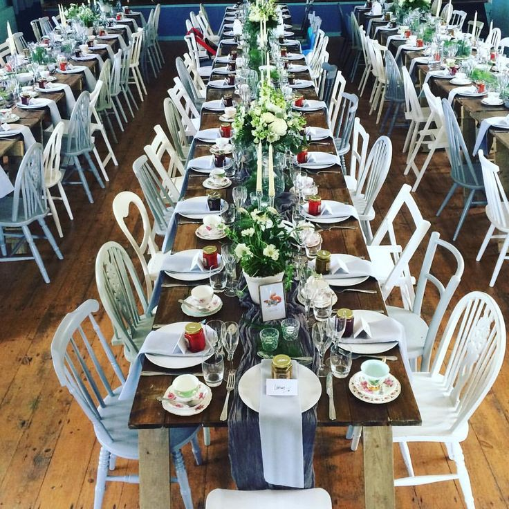 Our most popular colour combination of white and grey chairs for a village hall wedding breakfast
