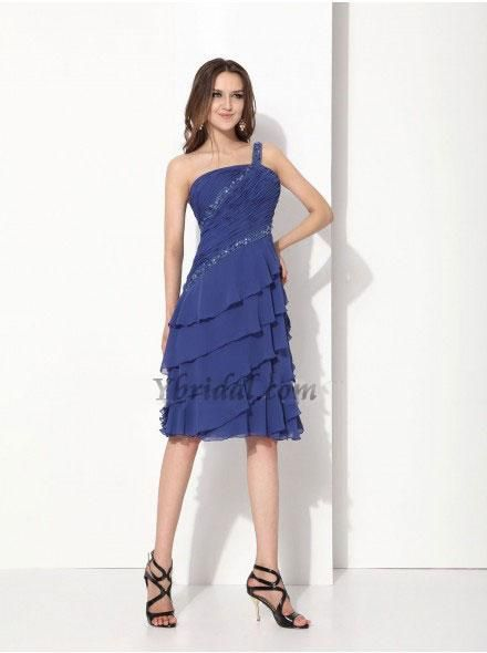 (CLICK IMAGE TWICE FOR DETAILS AND PRICING)  Charming Sheath One-shoulder Knee-length Chiffon Ruched Party Dress SSC4404-L  - See More One Shoulder Women Dresses at http://www.zbrands.com/One-shoulder-Womens-Dresses-C56.aspx