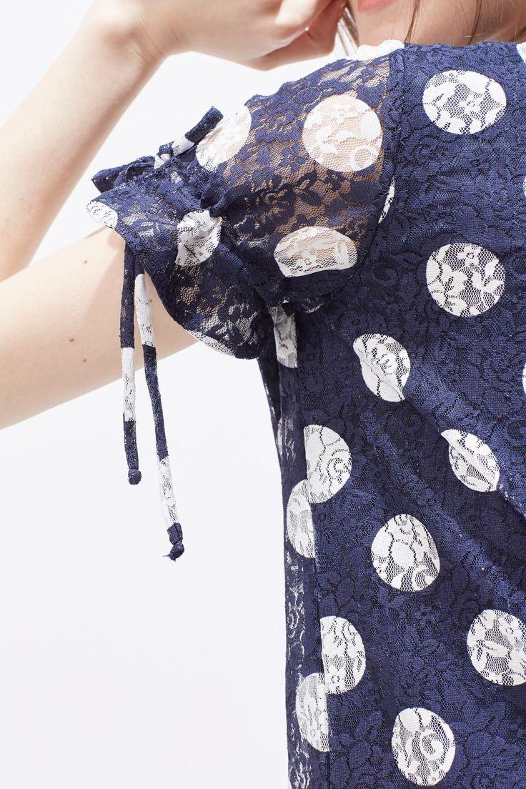 Vestido encaje estampado   Vestidos   Cortefiel