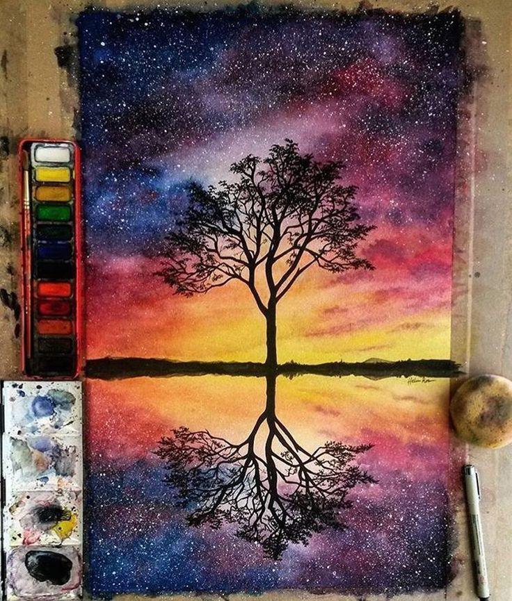 Malen Der Sterne Tinte Und Aquarelle Vo Aquarelle Der