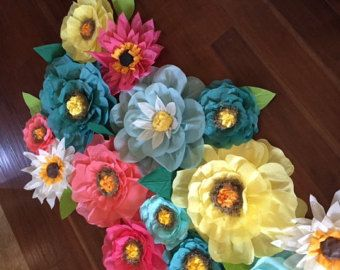 Three 12 tissue flowers от LavenderLaceLemonade на Etsy