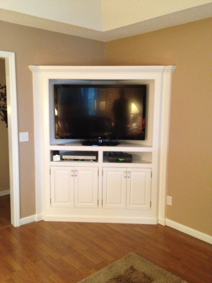 Built in corner tv cabinet counter refinished for Living room corner tv ideas
