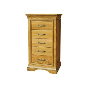 Solid Oak - FRBS5 Lyon Oak 5 Drawer Wellington  www.easyfurn.co.uk